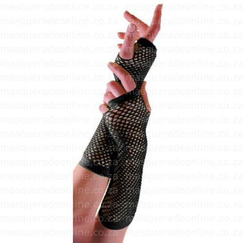 Masquerade Black Fishnet Gloves