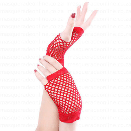 Masquerade Red Short Fishnet Gloves