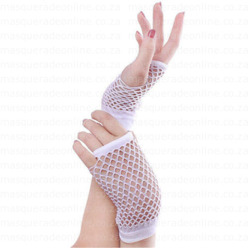 Masquerade White Fishnet Gloves