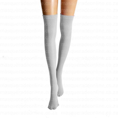 Masquerade White Thigh High Stockings