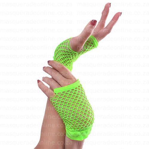 Masquerade Neon Green Fishnet Gloves