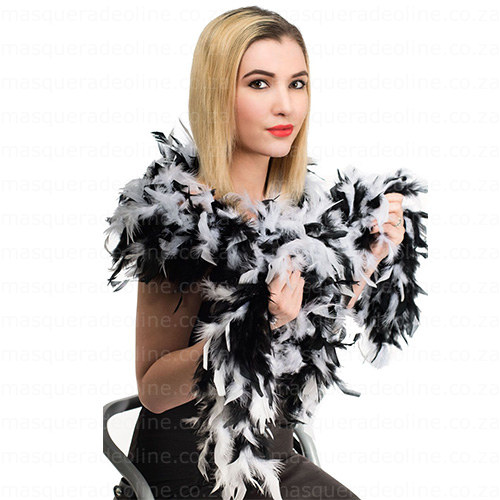 Masquerade Black and white Feather Boa