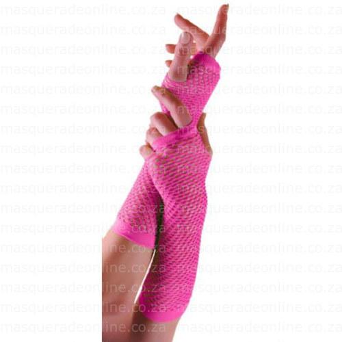 Masquerade Pink Fishnet Gloves