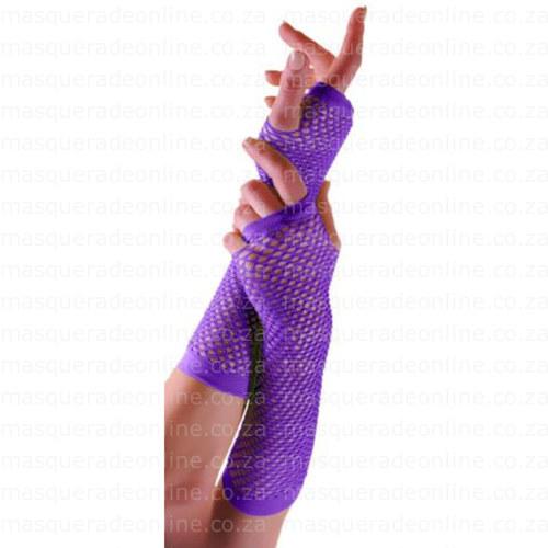 Masquerade Purple Fishnet Gloves