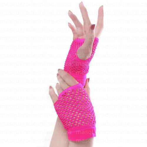 Masquerade Neon Pink Fishnet Gloves