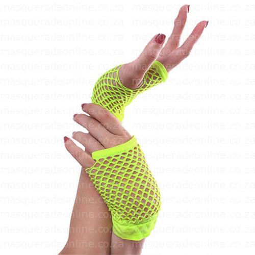 Masquerade Neon Yelllow Fishnet Gloves