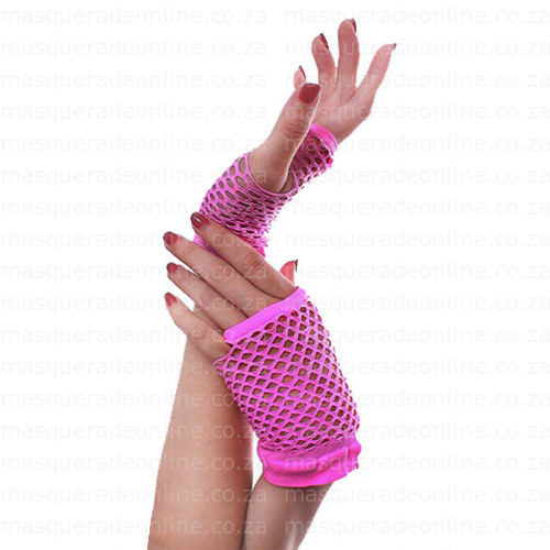Masquerade Pink Fishnet Gloves