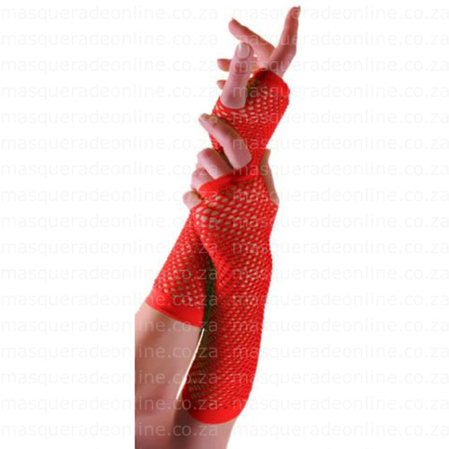 Masquerade Red Fishnet Gloves