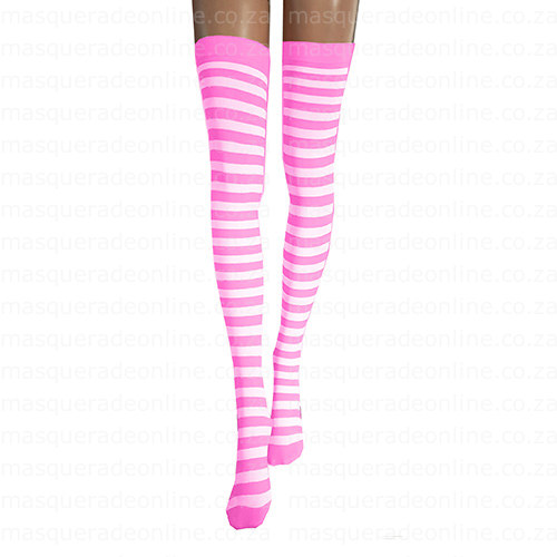 Masquerade Pink White Stripe Thigh Highs