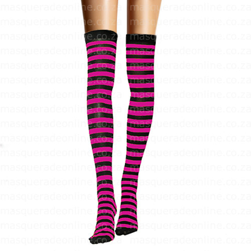 Masquerade Pink Stripe Thigh High