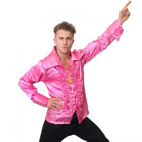 Pink Satin 70'S Shirt Masquerade Costume Hire