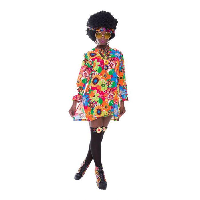 Flower Power Mini Dress Masquerade Costume Hire