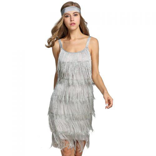 Silver Gatsby Tassel Dress Masquerade Costume Hire
