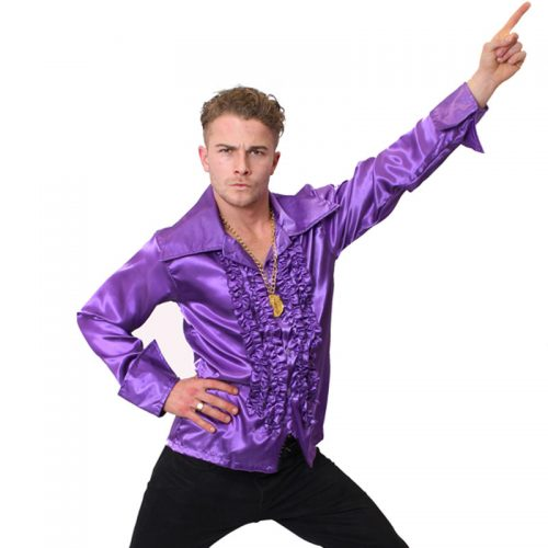 Purple Satin 70's Shirt Masqueraqde Costume Hire