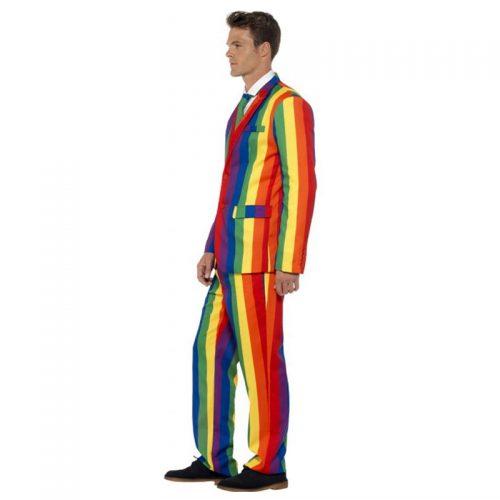 Rainbow Striped Suit Masquerade Costume Hire