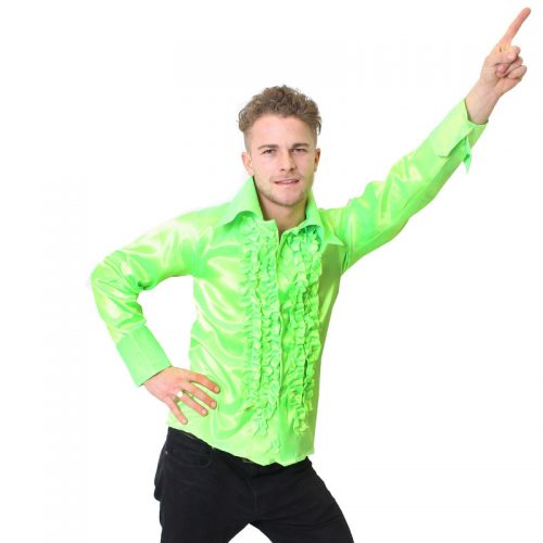 Bright Green Satin 70's Shirt Masquerade Costume Hire
