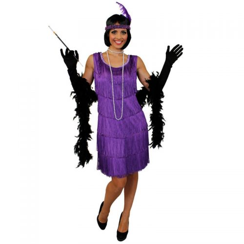 Purple Tassel Dress Masquerade Costume Hire