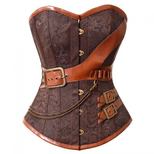 Brown Brocade & Leather Corset Masquerade Costume Hire