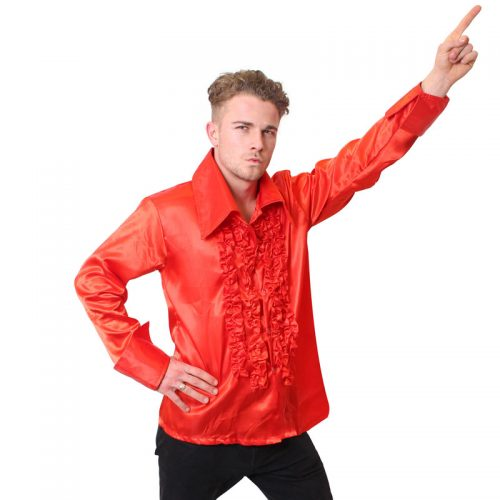 Red Satin 70's Shirt Masquerade Costume Hire