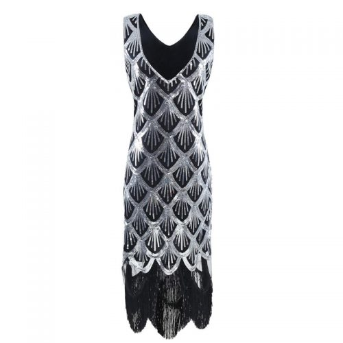 Black & Silver Flapper Dress Masquerade Costume Hire