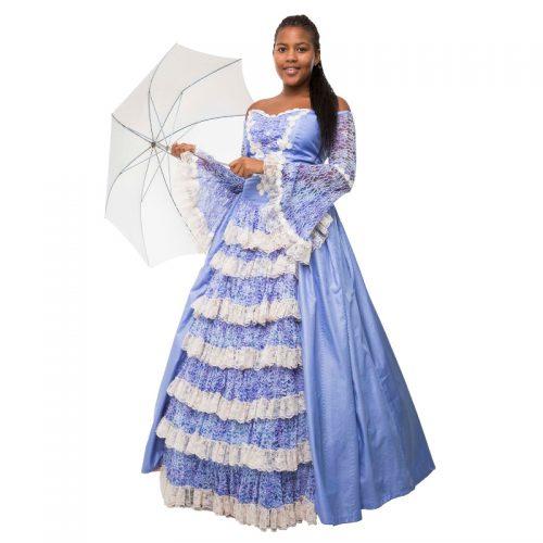 Lilac & Cream Victorian Dress Masquerade Costume Hire
