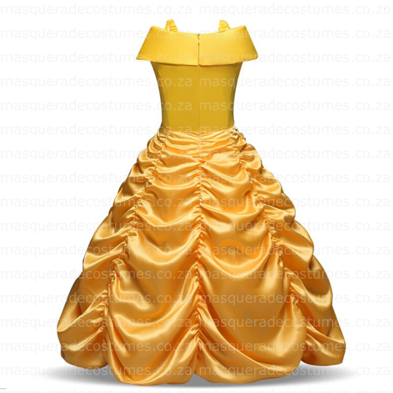 Masquerade Costume Hire Belle Inspired Rouged Yellow Princess Ballgown Dress