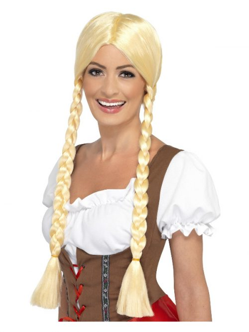 Bavarian Beermaid Blonde Pigtails wig Masquerade Costume Hire