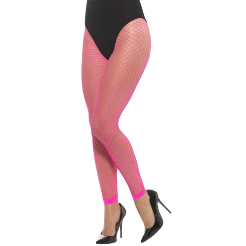 neon pink footless fishnet tights