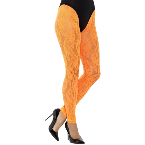 neon orange 80's lace leggings
