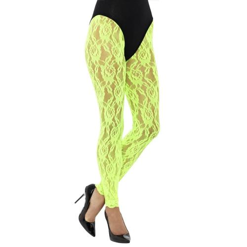 80's neon green lace leggings