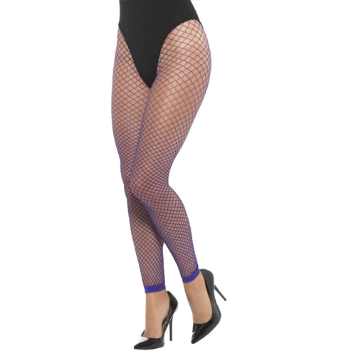 purple fishnet leggings