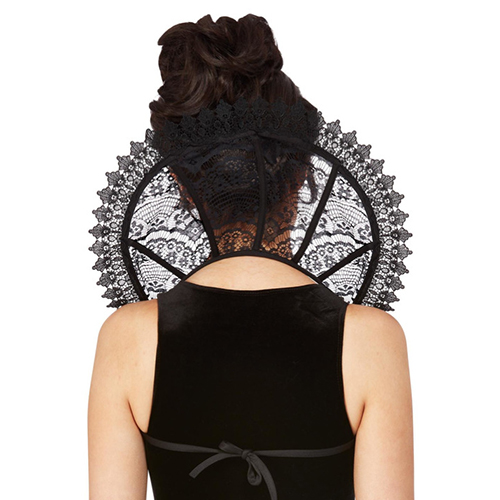 Stand Up Lace Goth Collar front Masquerade Costume Hire