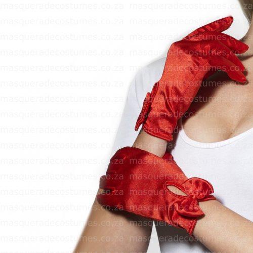 Masquerade Red Satin Gloves