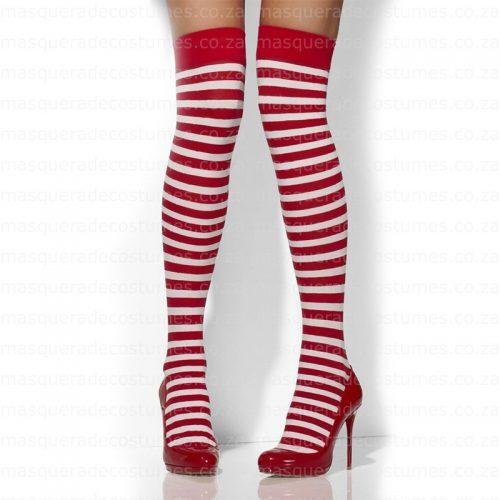 Masquerade Red and White Stripe Stockings