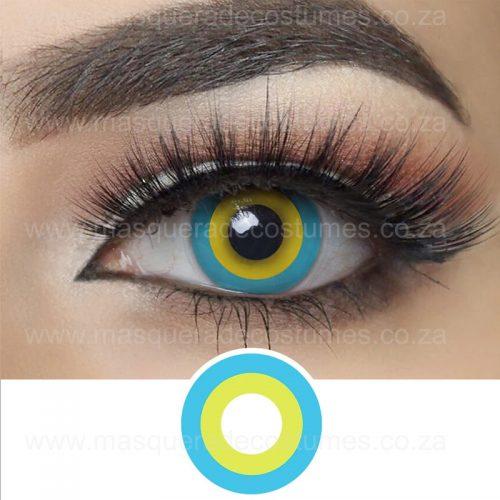 Yellow and Blue Circle Contact LEnses